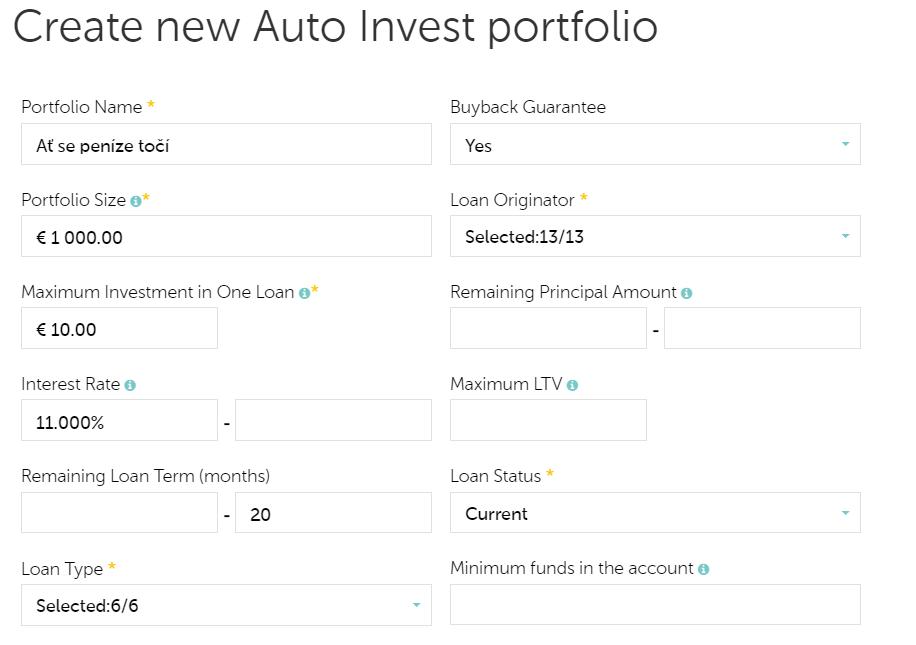 Mintos Autoinvest parametry