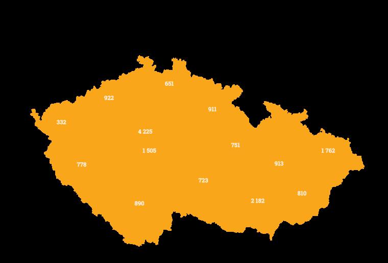 mapa celkem investoru v krajich Zonky