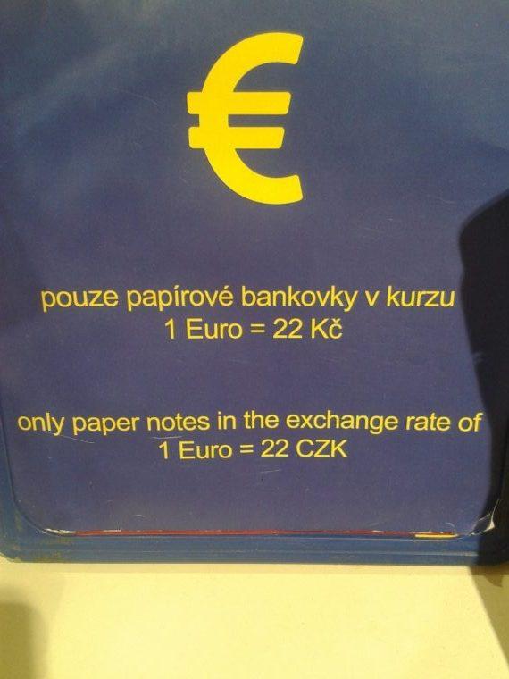 Platba v EUR hotovost v ČR